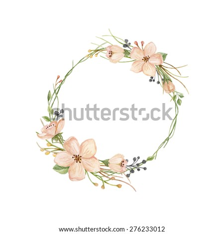 Watercolor wreath with spring flowers, leaves, branches and buds. - stock photo
