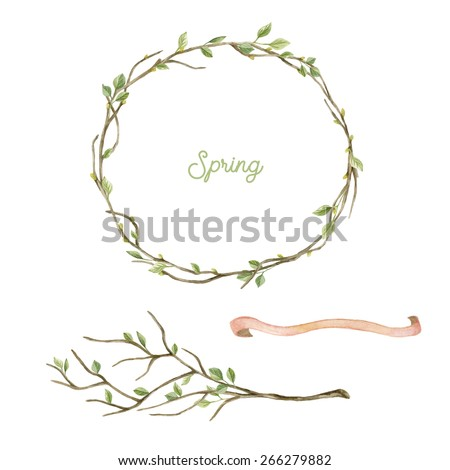 Watercolor wreath with spring  leaves and branches. Spring set. Frame and tree branch with leaves. Hand drawn illustration. - stock photo