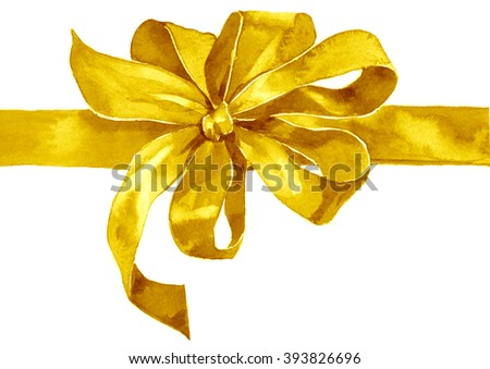 Watercolor yellow gold  bow