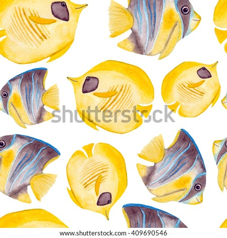 Watercolor Yellow Tropical Fish Seamless Pattern - stock photo