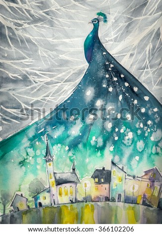 Watercolors abstract illustration of peacock as night sky over city.
