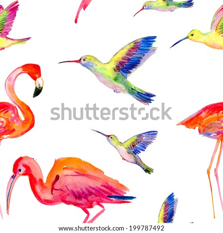 watercolors birds seamless pattern - stock photo