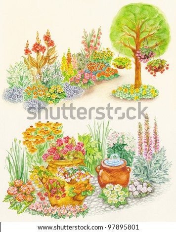 Watercolors hand painted pictures of garden design and flowered beds with little fountain in flowerpot