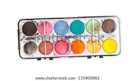 Watercolors isolated on white. Top view. - stock photo