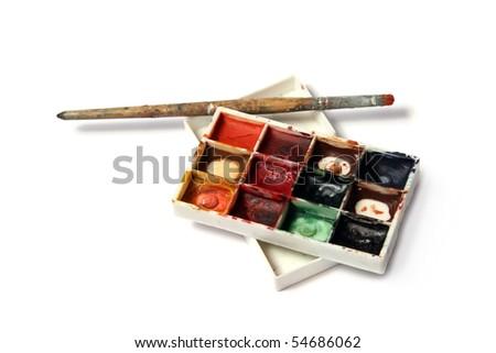 watercolors set - stock photo