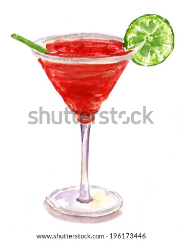 Watercolour drawing of a Strawberry Margarita cocktail with a slice of lime on white background, isolated - stock photo