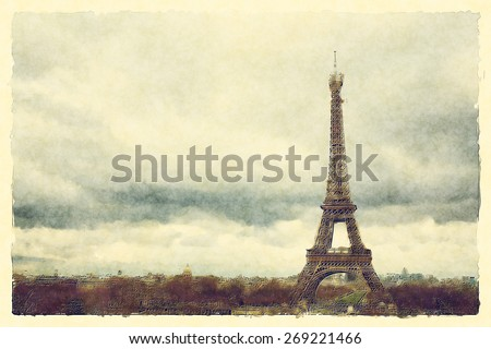 Watercolour landscape view of Paris and the Eiffel Tower. - stock photo