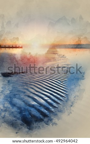 Watercolour painting image of Beautiful low point of view along beach at low tide out to sea with vibrant sunrise sky