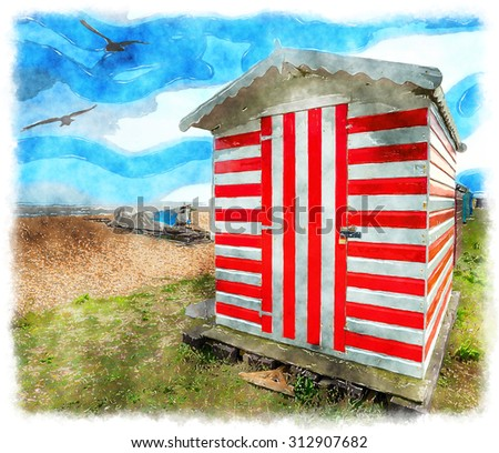 Watercolour painting of a red and white stripey beach hut at Greatstone in Kent