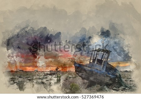 Watercolour painting of Abandoned fishing boat on shingle beach landscape at sunset