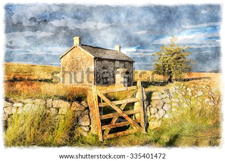 Watercolour Painting Of An Old Farm House In Isolated Spot Near Princetown On Dartmoor National