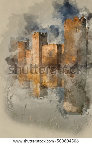 Watercolour painting of old medieval castle and moat landscape in Autumn Fall
