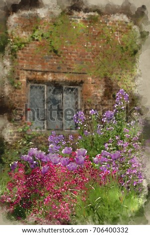 Watercolour Painting Of Quintessential English Country Garden Scene With Fresh Spring Flowers In Cottage