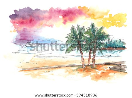watercolour painting of sunset at the beach with coconut trees - stock photo