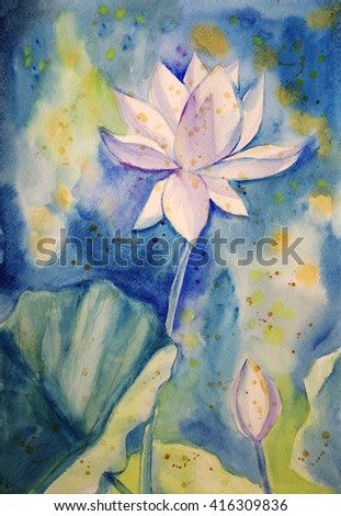 Watercolour painting of  white indian lotus in blue background