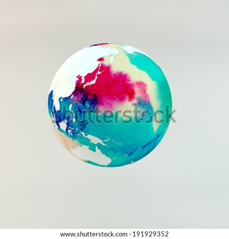 watercolour polluted earth - stock photo