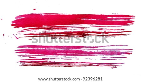 watercolour red brush texture - stock photo