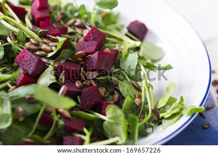 Watercress and beetroot salad with toasted sunflower seeds. - stock photo