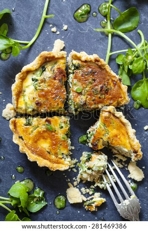 Watercress and smoked trout tart