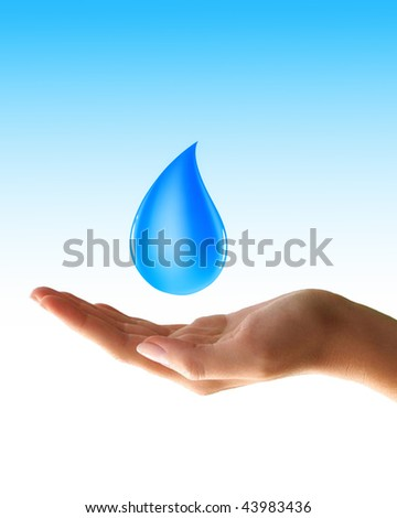 waterdrop in hand - stock photo