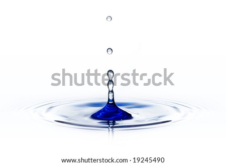 waterdrop isolated on white - stock photo
