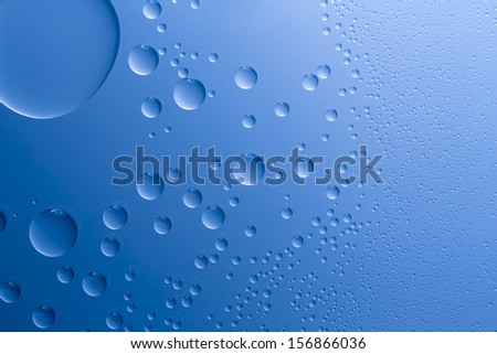 Waterdrops lotus effect on blue background