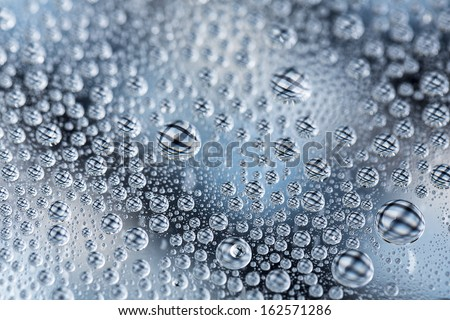 waterdrops on blue silver white line cross pattern refraktion gradient background