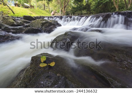 waterfal in deep forest in JedKod forest - stock photo