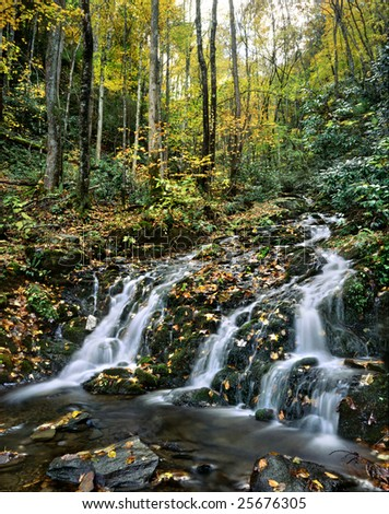 Waterfall And Autumn Foliage, Great Smoky Mountains National Park, Tennessee - stock photo