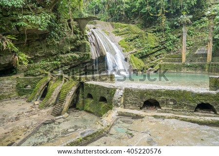 "Waterfall and Pool of Las Pozas ""The Pools"" Surreal Gardens in Xilitla, Mexico"