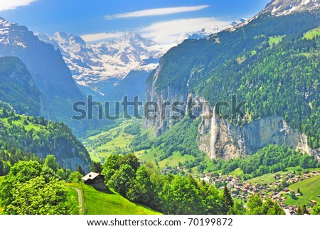 waterfall and valley of Lauterbrunnen - stock photo