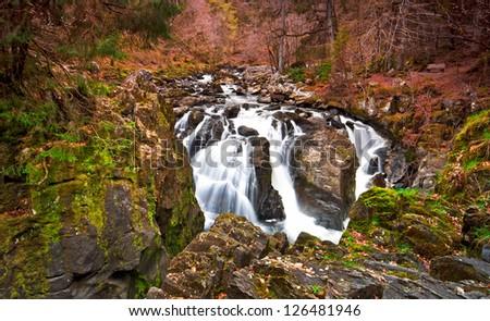Waterfall at Dunkeld - stock photo