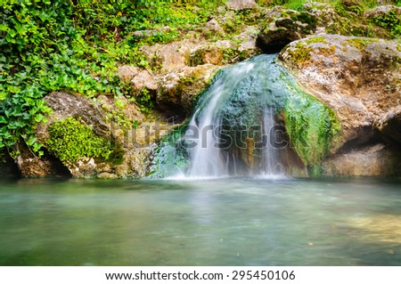 Waterfall at Hot Springs National Park - stock photo