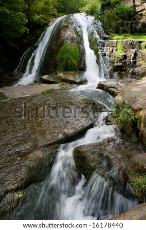 Waterfall at Roaring Run, Virginia. - stock photo