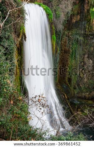 """Waterfall at the """"monasterio de piedra"""",  Spain - stock photo"""