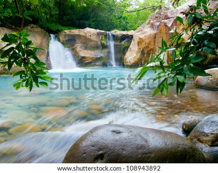 Waterfall at the Rincon de la Vieja National Park, Costa Rica - stock photo