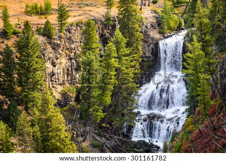 Waterfall at Yellowstone National Park - stock photo