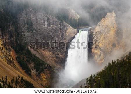 Waterfall at Yellowstone National Park - stock photo