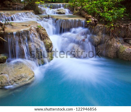 Waterfall  beautiful asia Thailand - stock photo