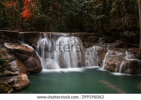 Waterfall beautiful (huaymaekamin waterfall) in kanchanaburi province asia southeast asia Thailand - stock photo