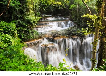 waterfall Beautiful in thailand - stock photo