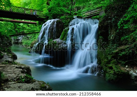 Waterfall Bigar. Located at the intersection with the parallel 45 in Romania - stock photo