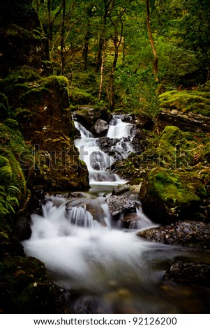 Waterfall cascading through woodland - stock photo