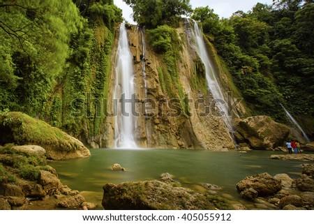 waterfall cikaso Location Sukabumi West Java - stock photo