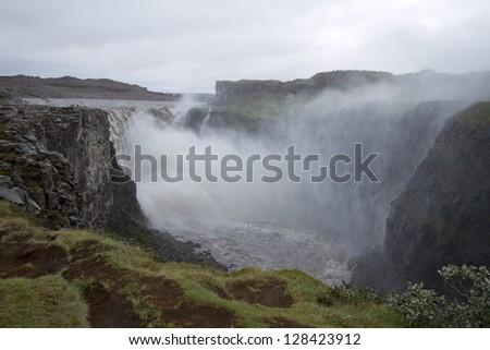 Waterfall Detifoss Iceland - stock photo
