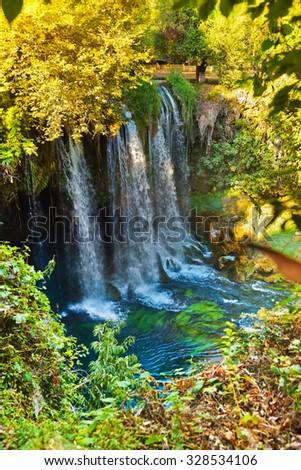 Waterfall Duden at Antalya Turkey - nature travel background - stock photo