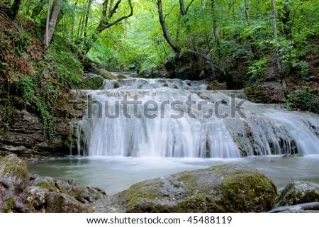 Waterfall Dzhur-Dzhur in Crimea - stock photo
