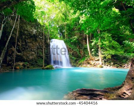 Waterfall Eravan, in Kanchanabury, Thailand - stock photo