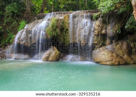 Waterfall erawan , Kanchanaburi Province, Thailand - stock photo