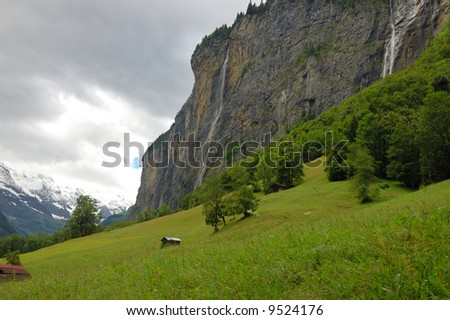 Waterfall falling into the Lauterbrunnen valley.